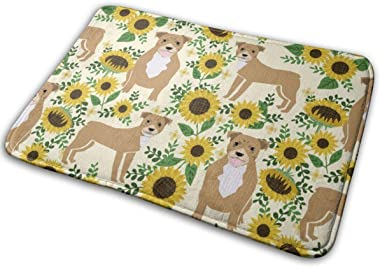 Pitbull Sunflowers Floral Dog Breed Pitty Lover Yellow_24629 Doormat Entrance Mat Floor Mat Rug Indoor/Outdoor/Front Door/Bat