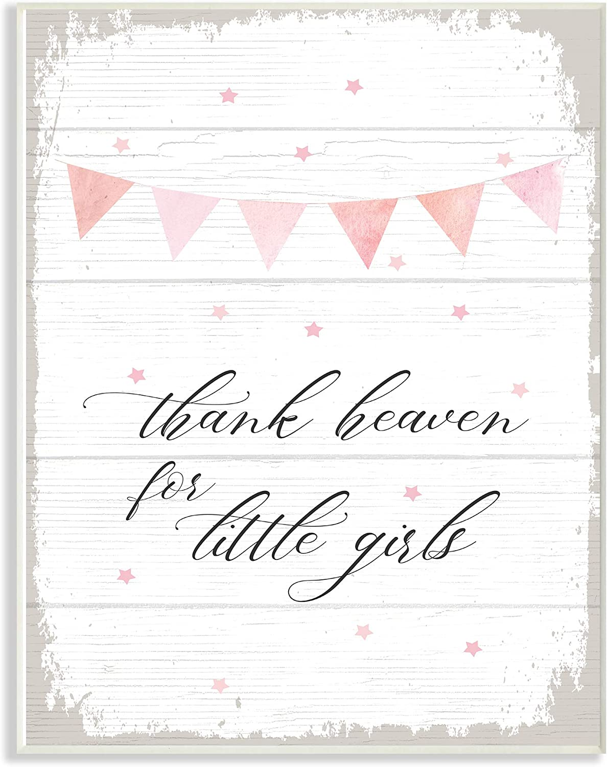 The Kids Room by Stupell Pink Bunting Thank Heaven for Little Girls Planked Look Wall Plaque Art, 13 X 19, Multi-color