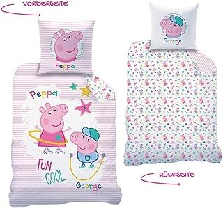 Peppa Wutz CTI Juego de cama reversible Peppa Pig · Ropa de cama infantil para niña · Rosa, blanco · Peppa & George · Funda de almohada 80 x 80 + funda nórdica 135 x 200 cm