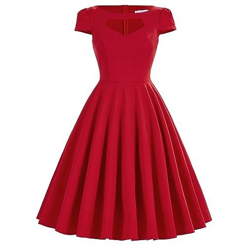0ac18cae0f33 Belle Poque Women s 1950s Retro Vintage Short Sleeve Cocktail Dresses  Hollowed Front Dress