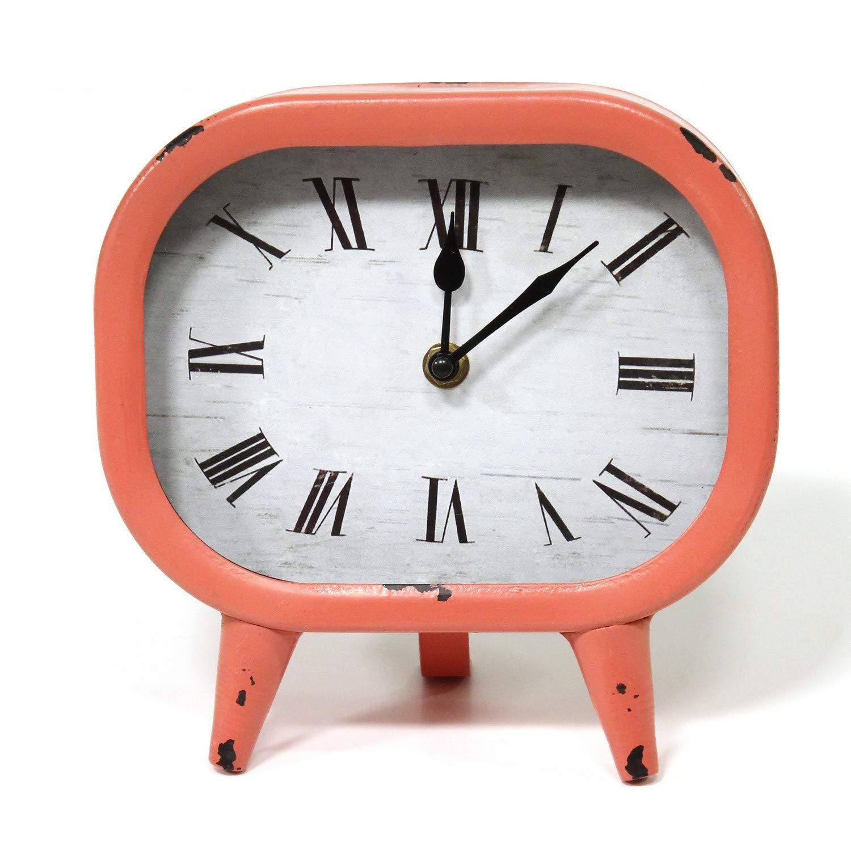 Amazon Com Stratton Home Decor Susie Retro Coral Metal Table Clock Home Kitchen