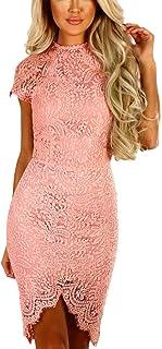b59360e9c7f YOINS Women Dress Sexy Bodycon Crochet Lace Wrap Front Long Sleeves Mini  Dress