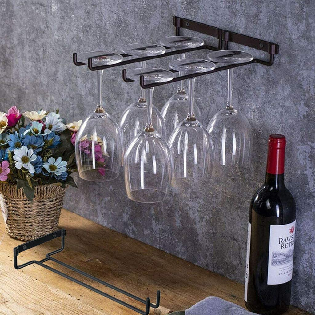 ohcoolstule Wine Glass Rack Black Cabinet Wall Wi Under Special price for Max 55% OFF a limited time Mounted