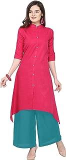 Florence Pink Slub Cotton Embellished Stitched Kurtis with Palazzo(FL-KT-129-PZ-01)