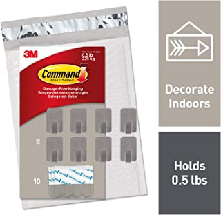 Command Small Stainless Steel Metal Hooks 8 Hooks, 10 Strips