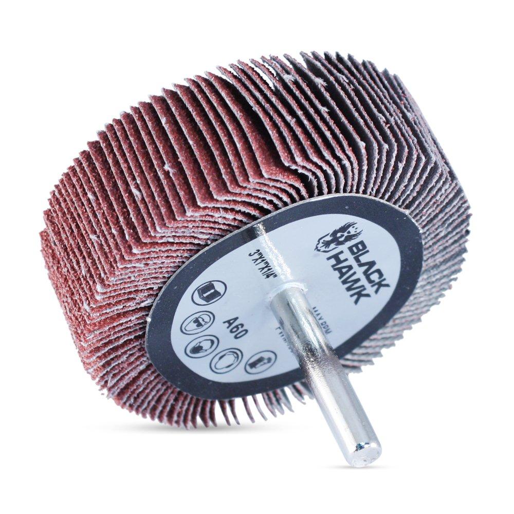 "3/"" x 1/"" 1//4/"" Shank 60 Grit Flap Wheels Firm Aluminum Oxide 10pcs CGW 39948"