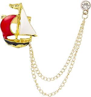 Knighthood Men's SailBoat With Hanging Chain Tassel Badge بدلة طوق بروش دبوس التلبيب