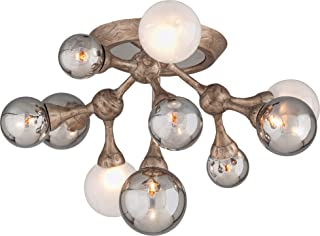 Element 11-Light Ceiling Semi-Flush Mount - Vienna Bronze Finish with Smoked and Frosted White Balls