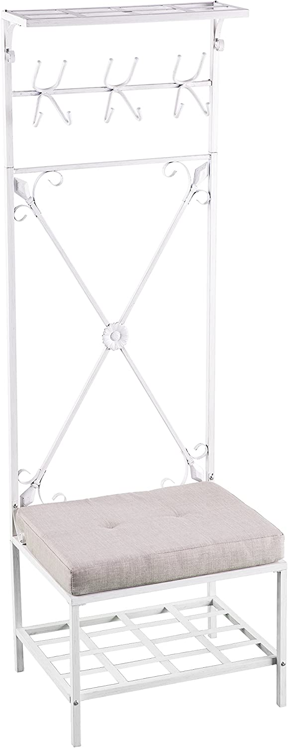 Furniture HotSpot – Hall Tree with Bench - White - 24