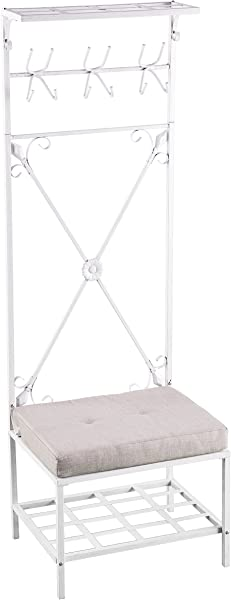 Furniture HotSpot Hall Tree With Bench White 24 W X 19 D X 72 5 H