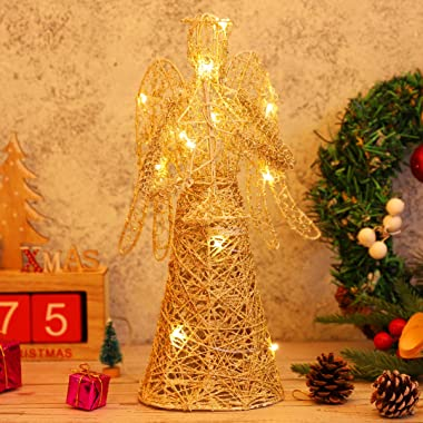 "PRETYZOOM LED Angel Christmas Tree Topper 12"" Led Christmas Treetop for Christmas Tree Ornaments Christmas Decoration Par"