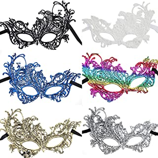Masquerade Mask 6pcs Lace Exquisite Eye Mask Women's Venetian Party Fashion Mask Multicolored