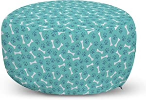 Lunarable Dog Bone Ottoman Pouf, Animal Footprints and Bone Food Pattern in Repeating Arrangement, Decorative Soft Foot Rest with Removable Cover Living Room and Bedroom, Ceil Blue Seafoam