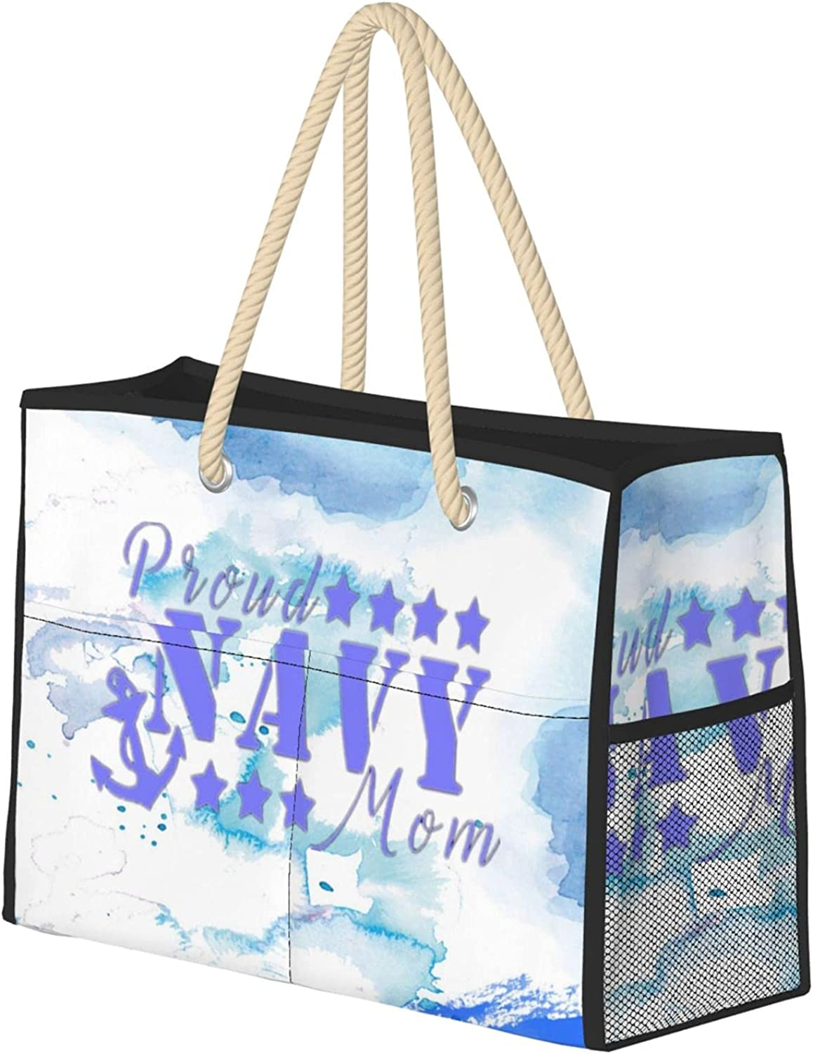 Proud Navy Mom Beach Bag Super sale period limited Large Groc Decoration Tote Reusable NEW