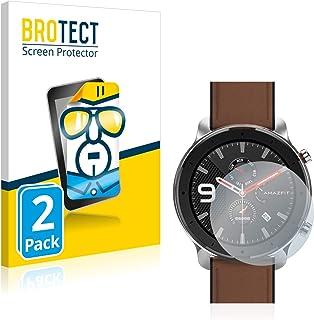 BROTECT 2x Schermbeschermer compatibel met Huami Amazfit GTR (47 mm) Screen protector transparant