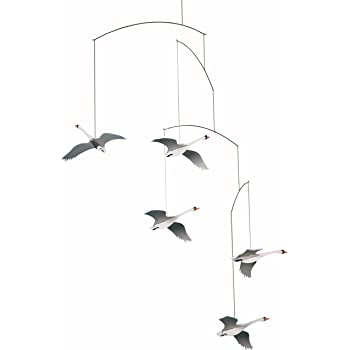 Scandinavian Swan Hanging Mobile - 22 Inches - Handmade in Denmark by Flensted