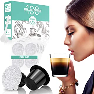 CAPMESSO Reusable Espresso Capsules -Refillable Capsule Coffee Pods Filters Reusable More Than 1000 Times Compatible with Nespresso Original Line Machines (BPA Free,100 Pods+100 Lids+Scoop)