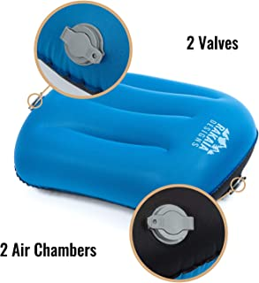 Rakaia Designs Ultralight Inflating Travel Camping Pillows - Compressible, Compact, Inflatable, Comfortable, Ergonomic Pillow for Neck & Lumbar Support and a Good Night Sleep while Camp, Backpacking