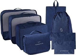 صناديق تعبئة للسفر، مجموعة من 8 حقائب لتنظيم وتعبئة الأمتعة مع حقيبة أدوات الزينة وأقمشة مقاومة للماء
