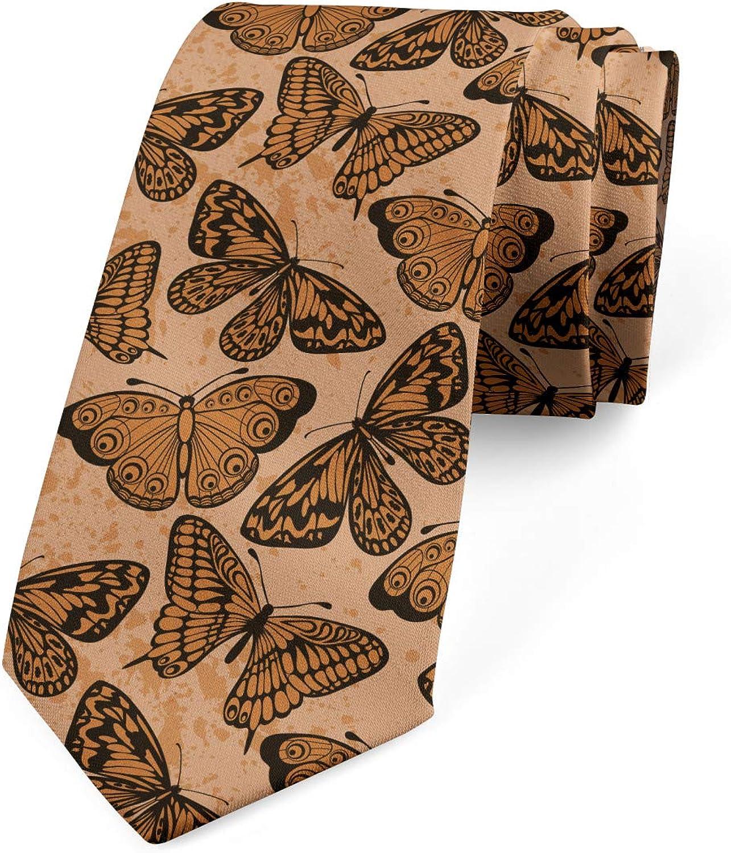Ambesonne Necktie, Butterflies Grunge Art, Dress Tie, 3.7
