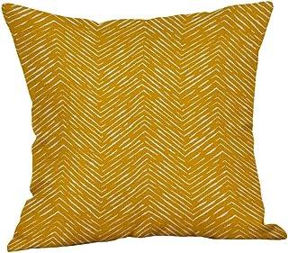 "Iuhan Throw Pillow Case Cushion Cover, Mustard Pillow Case Yellow Geometric Fall Autumn Cushion Cover Decorative 18"" x 18"" 45cm x 45cm (G)"