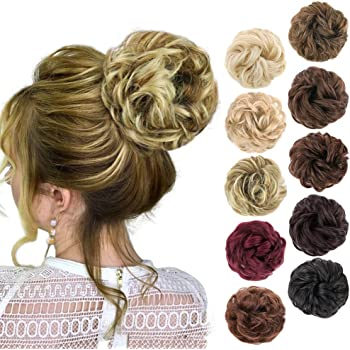 MORICA 1PCS Messy Hair Bun Hair Scrunchies Extension Curly Wavy Messy Synthetic Chignon for women Updo Hairpiece(Color:86H10#)