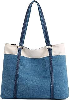 JANSBEN Damen Handtasche Schultertasche Canvas Casual Groß Tasche Shopper Elegant für Büro Schule Arbeit (Blau)