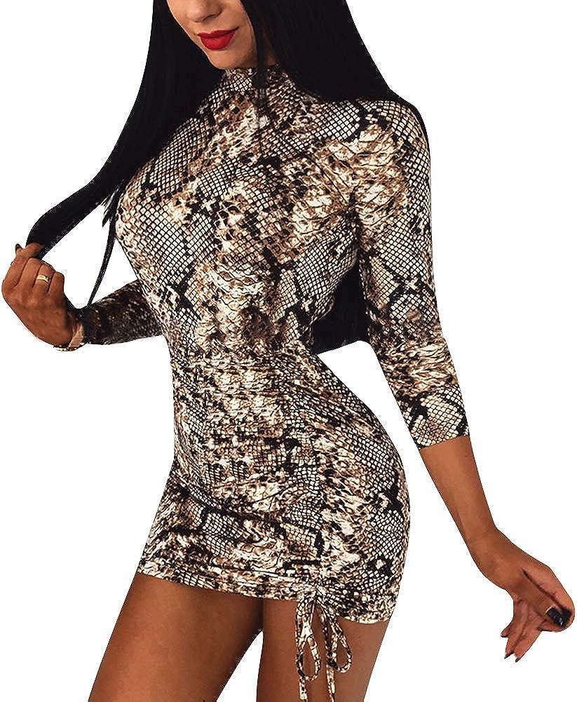 Luckinbaby Women 's Bodycon Dress Long Sleeve Print Sexy Mini Club Party Dresses