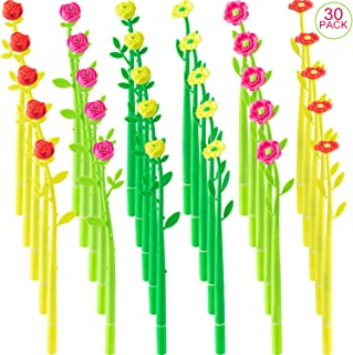 30 Pieces Creative Ballpoint Pens Black 0.5 mm Flower Shaped Gel Ink Rollerball Pen for School Home Office Funny Ballpoint...