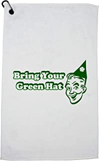 Hollywood Thread Old School Bring Your Green Hat Party Streaking Golf Towel with Carabiner Clip