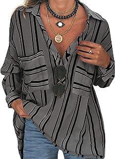 Women's V Neck Stripe Roll up Sleeve Button Down Blouses...