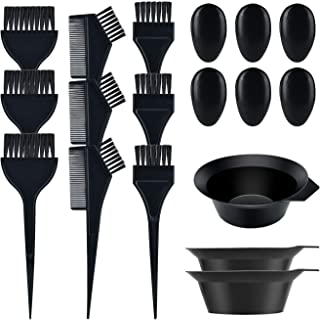 Quacoww 3 Sets Hair Coloring Tools Salon Coloring Dyeing Kit Brush Comb Mixing Bowl Plastic Earmuffs for Hair Dying Color
