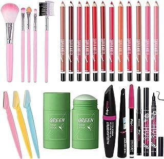 BTN 12 PCS Multicolour lipliner & 5 Pcs/Pack Pink Mini Eyeshadow & Foundation Eyebrow Lip Makeup Brush (LIGHT PINK) With m...