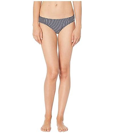 LAUREN Ralph Lauren Textured Stripe Seamed Hipster Logo Plate Bottoms (Navy) Women