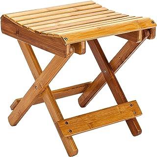 Shower Stool Bath Seats Bamboo Bath Stool, Multifunctional Foldable Bath Stool Comfortable Convenient No Need to Assemble ...