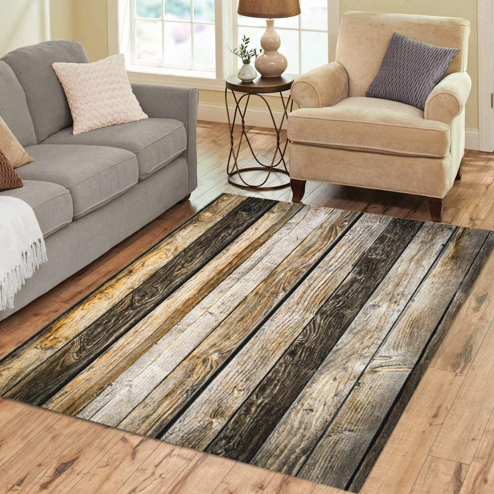 Pinbeam Area Rug Abstract Old Natural Brown Barn Wood Wall Wooden Home Decor Floor Rug 2 X 3 Carpet Kitchen Dining