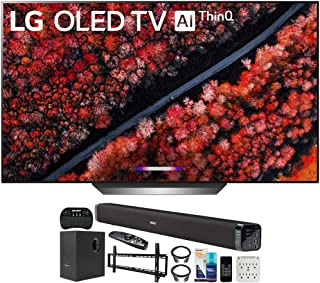LG OLED77C9PUB 77-inch C9 4K HDR Smart OLED TV with AI ThinQ (2019) Bundle with Deco Gear 60W Soundbar with Subwoofer, Wal...