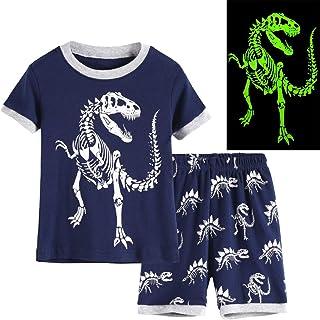 Hsctek Kid and Toddler Cotton Boys Pajamas Set(Toddler-9 Years), Glow in Dark