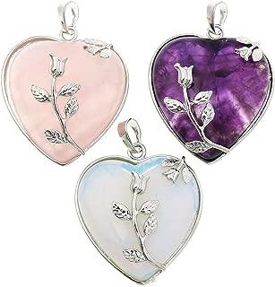 Top Plaza Natural Amethyst/Rose Quartz/Opalite Healing Crystal Gemstone Heart Pendant Necklace