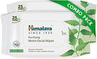 Himalaya Purifying Neem Facial Wipes, 25 Count (Pack Of 2)