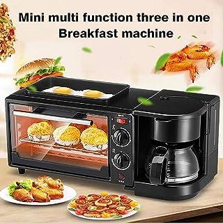 Máquina de Desayuno multifunción para el hogar 3 en 1,Mini Horno de Acero Inoxidable+sartén+cafetera,Uso Conveniente Ahorre Tiempo