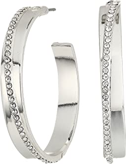 LAUREN Ralph Lauren Everyday Crystal Metal Hoop w/Stone Layer Earrings