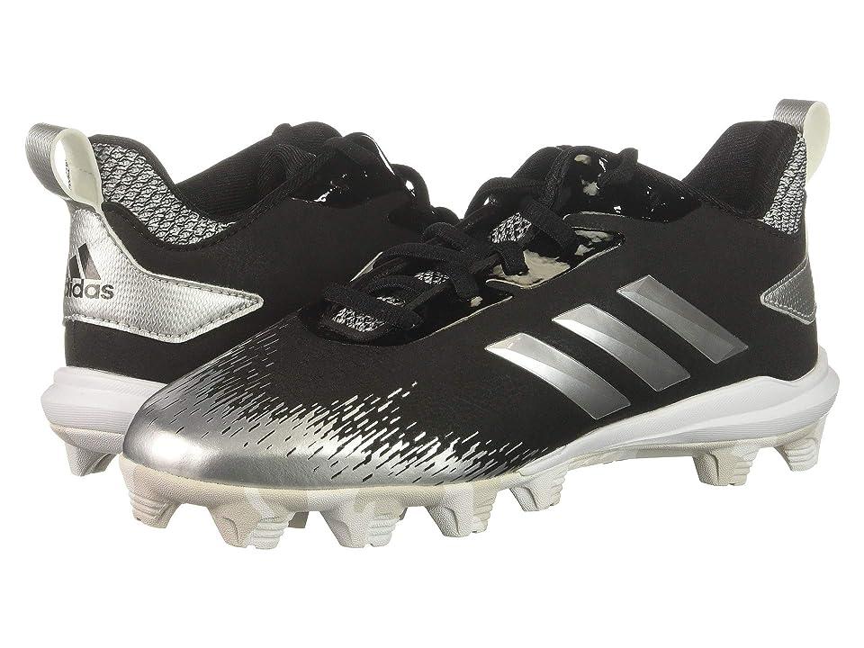 adidas Kids Afterburner V MD Baseball (Toddler/Little Kid/Big Kid) (Black/Silver/Cloud White) Kids Shoes