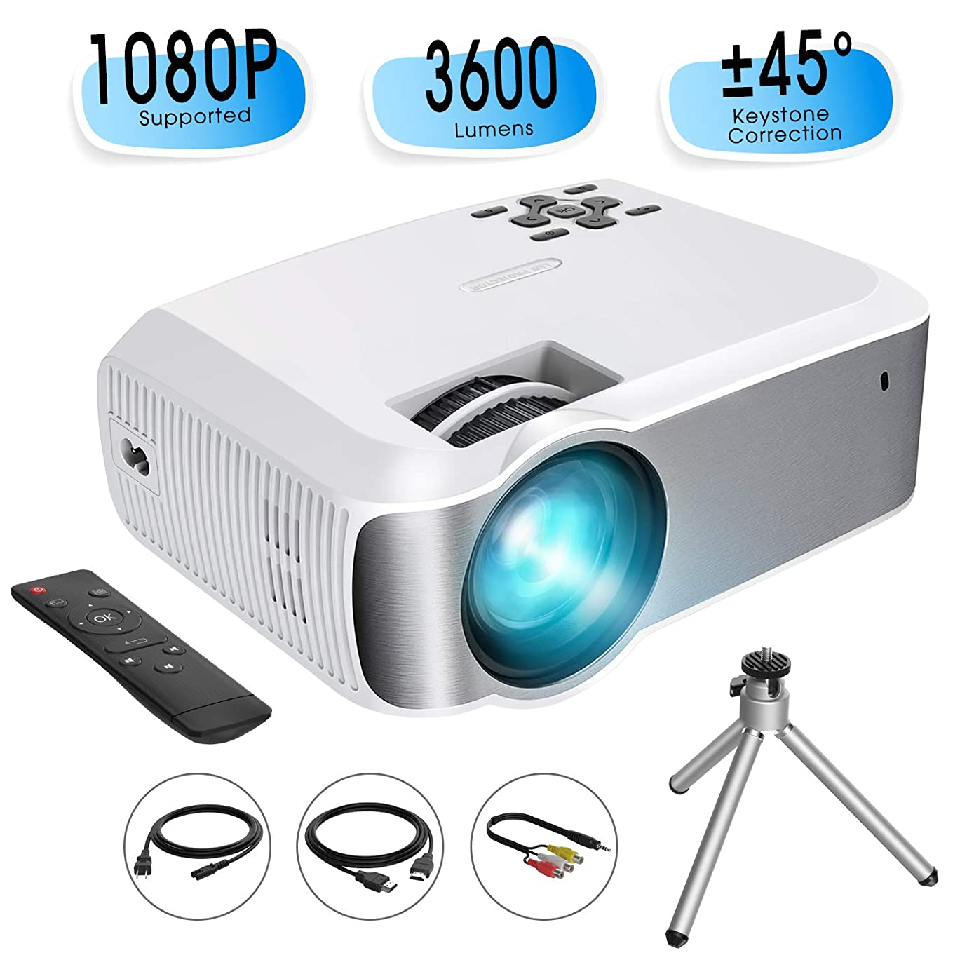 Mini Projector, TOPELEK Video Projector (2019 Upgraded) 1080P Supported with 3600 Lumens & ±45° Vertical Keystone Correction; LED Portable Projector with 2000:1 Contrast Ratio, 200