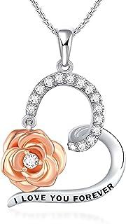 100 langues je t'aime collier pour femmes filles - pendentif d'amour en cristal rose projetant des colliers de mémoire pou...