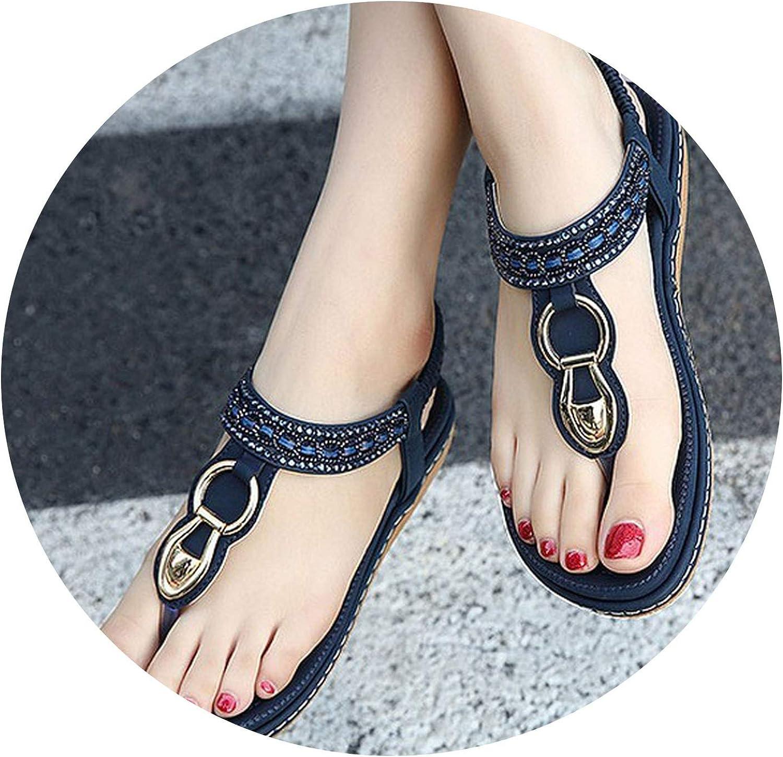 Women Sandals Ethnic String Bead Beach shoes Casual Metal Decoration Flip Flops,bluee,11.5