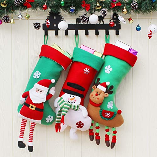"""Aiduy 3 Pack 18"""" Christmas Stockings Set with 3D Plush Santa Snowman Reindeer Christmas Decorations Stockings for Xma..."""