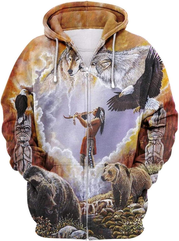 Hooded Sweater New Indian 3D Digital Printing Zipper Cardigan