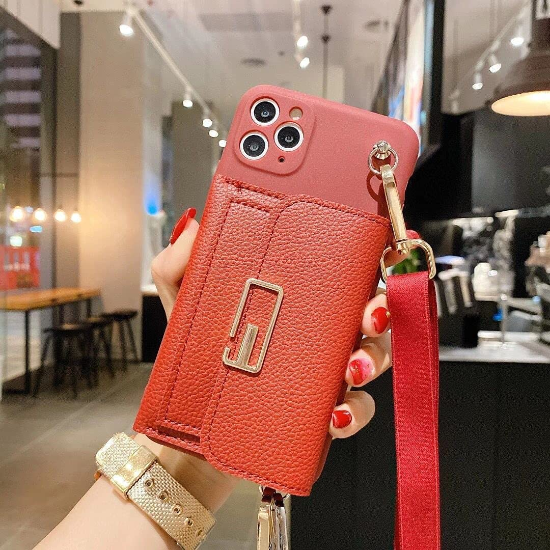 ISYSUII Crossbody Wallet Case for Samsung Galaxy S20 FE Card Holder Case with Wrist Strap Kickstand Removable Shoulder Strap Soft Leather Purse Protective Cover Gift for Women Girl,Red