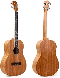 Kmise - Ukelele barítono de caoba, 76cm, 4cuerdas, guitarra hawaiana